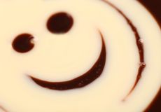 Crema sorridente del cioccolato. immagine stock libera da diritti