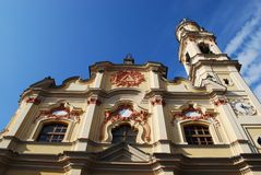 Crema town, Italy. Baroque church on blue sky, Crema town, Lombardy, Italy Royalty Free Stock Images