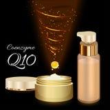 Crema y emulsión de piel con la coenzima Q10 Imagen de archivo