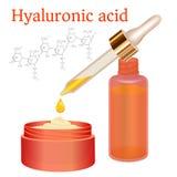 Crema y emulsión del ácido hialurónico con descenso stock de ilustración