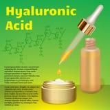 Crema y emulsión del ácido hialurónico Fórmula química Imagen de archivo