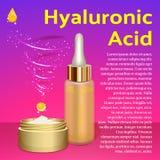 Crema y emulsión del ácido hialurónico Lugar para el texto Imagen de archivo libre de regalías