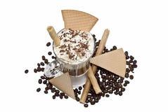 Crema y obleas del witth del café. Fotografía de archivo