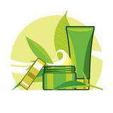 Crema y tónico de desintoxicación para el cuidado de la hoja verde Fotos de archivo