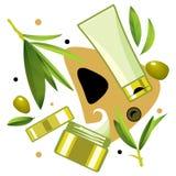Crema y tónico para el cuidado con aceite de oliva Imagen de archivo