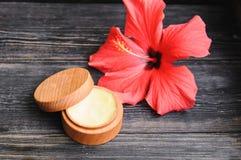 Crema y una flor rosada en un fondo de madera Imágenes de archivo libres de regalías