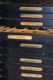 Cremagliera della lettera per il torchio tipografico antiquato Fotografie Stock