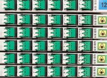 Cremagliera ottica della fibra con alta densità dei connettori Fotografie Stock Libere da Diritti