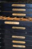 Cremalheira da letra para a imprensa de impressão antiquado Fotos de Stock
