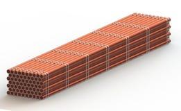A cremalheira da tubulação de aço, 3d rende Fotografia de Stock
