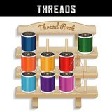 Cremalheira de madeira da linha de costura, agulha ilustração stock