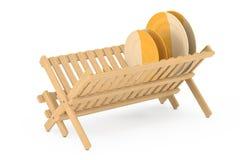Cremalheira de secagem do prato de bambu da cozinha com placas e canecas renderi 3D Imagens de Stock Royalty Free