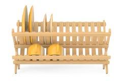 Cremalheira de secagem do prato de bambu da cozinha com placas e canecas renderi 3D Imagem de Stock