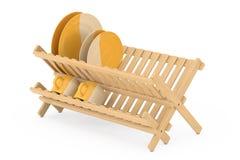Cremalheira de secagem do prato de bambu da cozinha com placas e canecas renderi 3D Fotografia de Stock