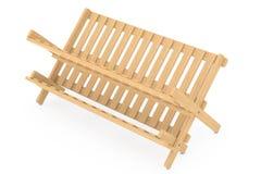 Cremalheira de secagem do prato de bambu da cozinha rendição 3d Fotografia de Stock Royalty Free
