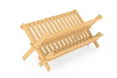 Cremalheira de secagem do prato de bambu da cozinha rendição 3d Fotos de Stock Royalty Free