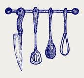 Cremalheira de utensílios da cozinha Imagem de Stock