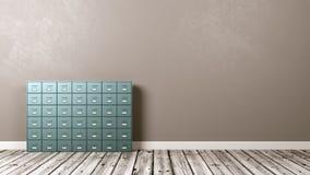 Cremalheira do arquivo no assoalho de madeira contra a parede Imagem de Stock Royalty Free