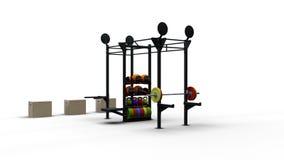 A cremalheira do esporte do metal e o equipamento 3D rendem Imagens de Stock Royalty Free