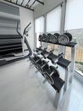 Cremalheira do peso no gym moderno Fotografia de Stock