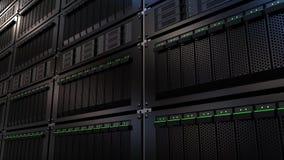 Cremalheiras do servidor Nuble-se a tecnologia de armazenamento ou conceitos modernos do centro de dados rendição 3d ilustração royalty free