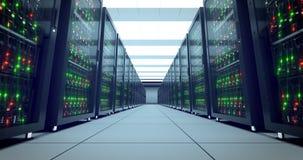 Cremalheiras dos servidores Datacenter moderno SMAU 2010 - Microsoft nubla-se a computação 4k UHD ilustração do vetor