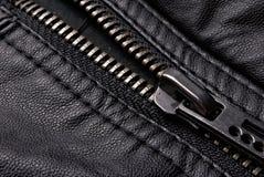 Cremallera en la chaqueta de cuero negra Fotos de archivo libres de regalías