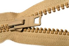Cremallera marrón desabrochada Imagen de archivo libre de regalías