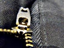 Cremallera metálica en los pantalones Fotos de archivo libres de regalías
