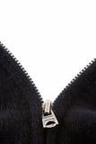 Cremallera negra del suéter en blanco Imagen de archivo