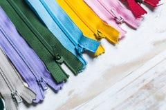 Cremalleras coloridas Fotografía de archivo libre de regalías