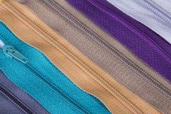Cremalleras coloridas Foto de archivo libre de regalías