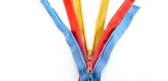 Cremalleras de costura coloridas aisladas Fotografía de archivo libre de regalías