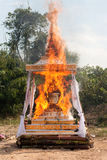 Cremation Buddhist. Burn of the corpse under a tent outside stock photo