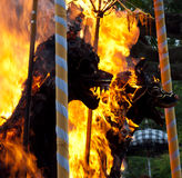Cremation Ceremony: funeral pyres on fire detail royalty free stock photography