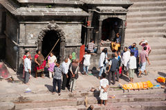 Cremation ceremony at Pashupatinath temple. Nepal, Kathmandu Stock Photos