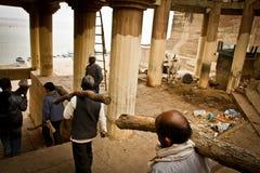 Cremation on the Ganes of Varanasi, Varanasi, India Stock Image