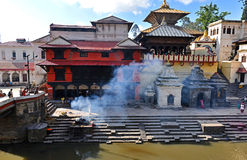 Cremation ghats in Pashupatinath before the earthquake. Kathmand Stock Photography