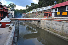 Cremation ghats in Pashupatinath before the earthquake. Kathmand Royalty Free Stock Images