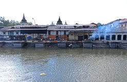 Cremation ghats in Pashupatinath before the earthquake. Kathmand Royalty Free Stock Photography