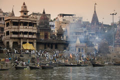 Cremation Ghats - Varanasi - India. The Manikarnika Hindu cremation ghats on the Holy River Ganges (Ganga) in the sacred town of Varanasi (Benares) in the Uttar Stock Images