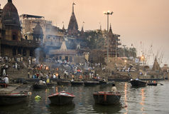 Cremation Ghats - Varanasi - India. The Hindu cremation ghats on the banks of the River Ganges in the holy city of Varanasi (Benares) in the Uttar Pradesh region Stock Photos