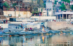 Cremation ghats in Varanasi Stock Photos