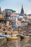 Cremation ghats in Varanasi Stock Photo
