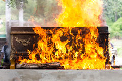 Cremation at graveyard. In thailand, coffin burning royalty free stock image
