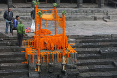 Cremation rituals in Pashupatinath temple Royalty Free Stock Photo