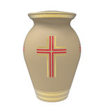 Cremation urn. With cross, 3d render, isolated on white Royalty Free Stock Photography