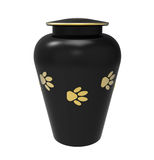 Cremation urn for pets. Black Cremation urn for pets, 3d render, isolated on white Royalty Free Stock Image