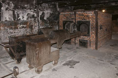 Crematorium at Auschwitz II–Birkenau concentration camp. In early 1943, the Nazis decided to increase greatly the gassing capacity of Birkenau. Crematorium II Stock Photography