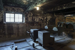 The crematorium in Auschwitz II, a former Nazi extermination camp in Poland. Royalty Free Stock Photo